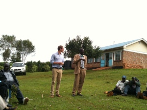 Brandon speaking with the chief in Nandi East at a Baraza for farmers